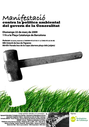 Manifestació contra la política ambiental del govern de la Generalitat