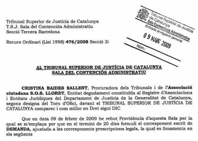 SOS Lloret POUM Tribunal Superior de Justícia de Catalunya