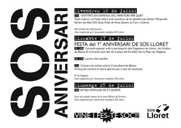 SOS Lloret actes 1er aniversari